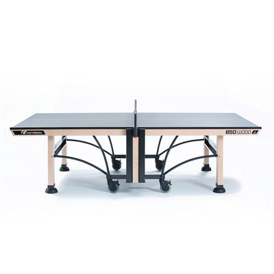 Cornilleau ITTF Competition Wood 850 Rollaway Table Tennis Table-Grey-Profile View