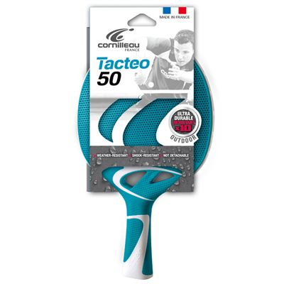 Cornilleau Tacteo 50 Composite Table Tennis Bat - Turquoise Bat Packed