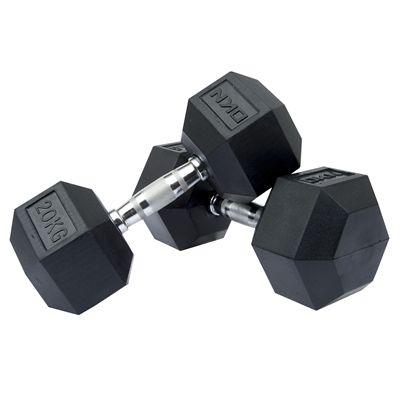 DKN Rubber Hex Dumbbell - 2 x 20kg