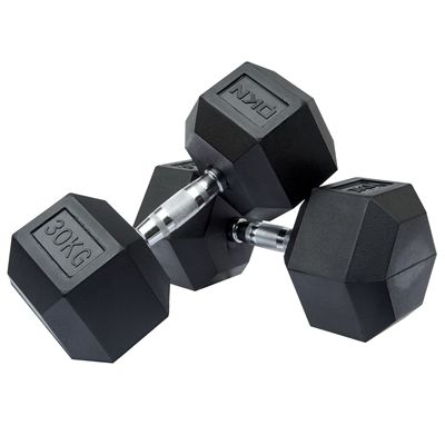 DKN Rubber Hex Dumbbell - 2 x 30kg