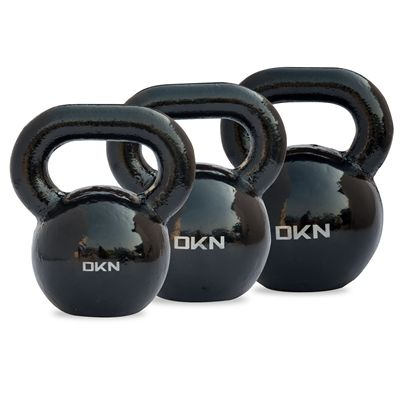 DKN 16, 20 and 24kg Cast Iron Kettlebell Set