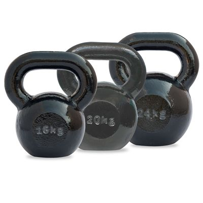 DKN 16 and 20 and 24kg Cast Iron Kettlebell Set - Back View