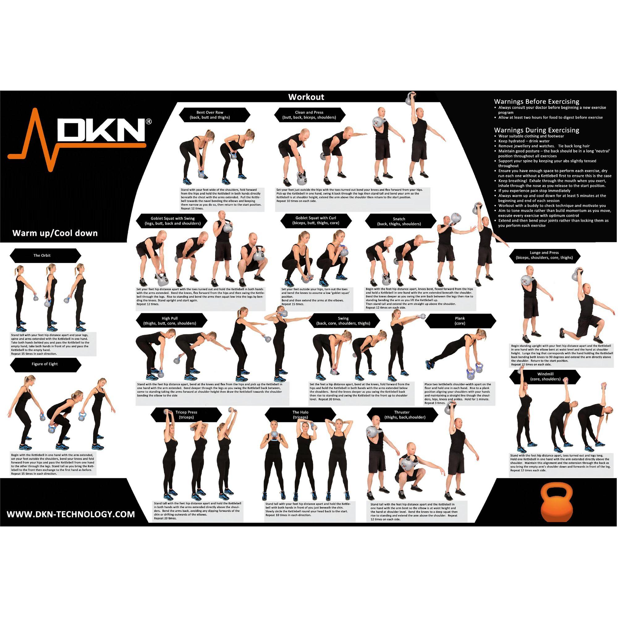 DKN 2, 4, 6 and 8kg Vinyl Kettlebell Weight Set