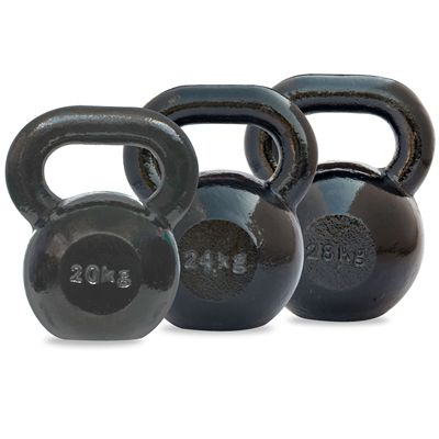 DKN 20 and 24 and 28kg Cast Iron Kettlebell Set - Back View