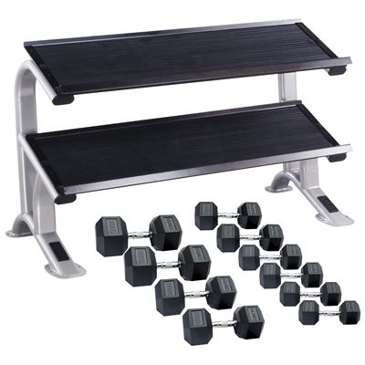 DKN 20kg to 30kg Rubber Hex Dumbbell Set with Storage Rack - 5 Pairs