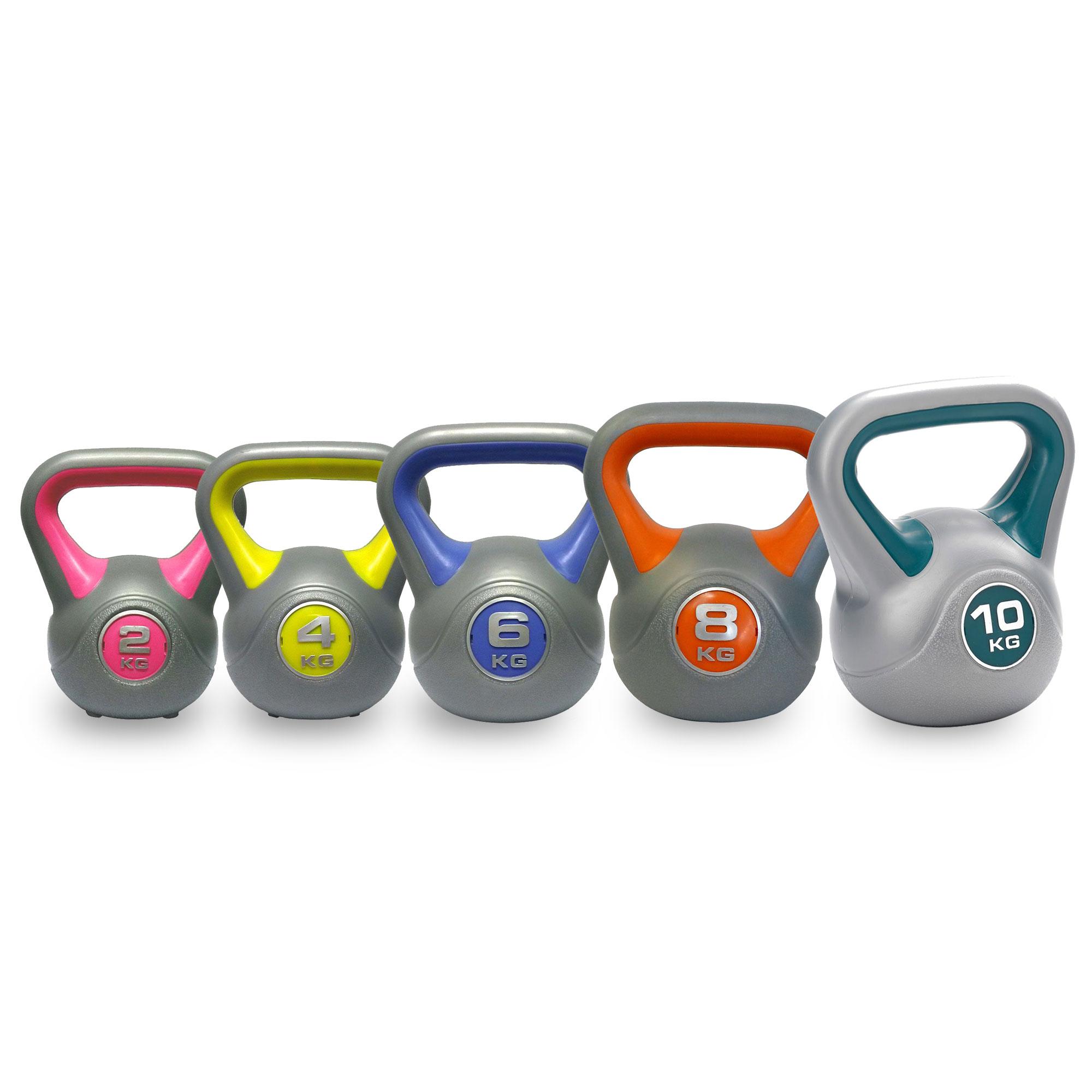 Fitness Equipment DKN 2, 4, 6, 8 and 10kg Vinyl Kettlebell Weight Set