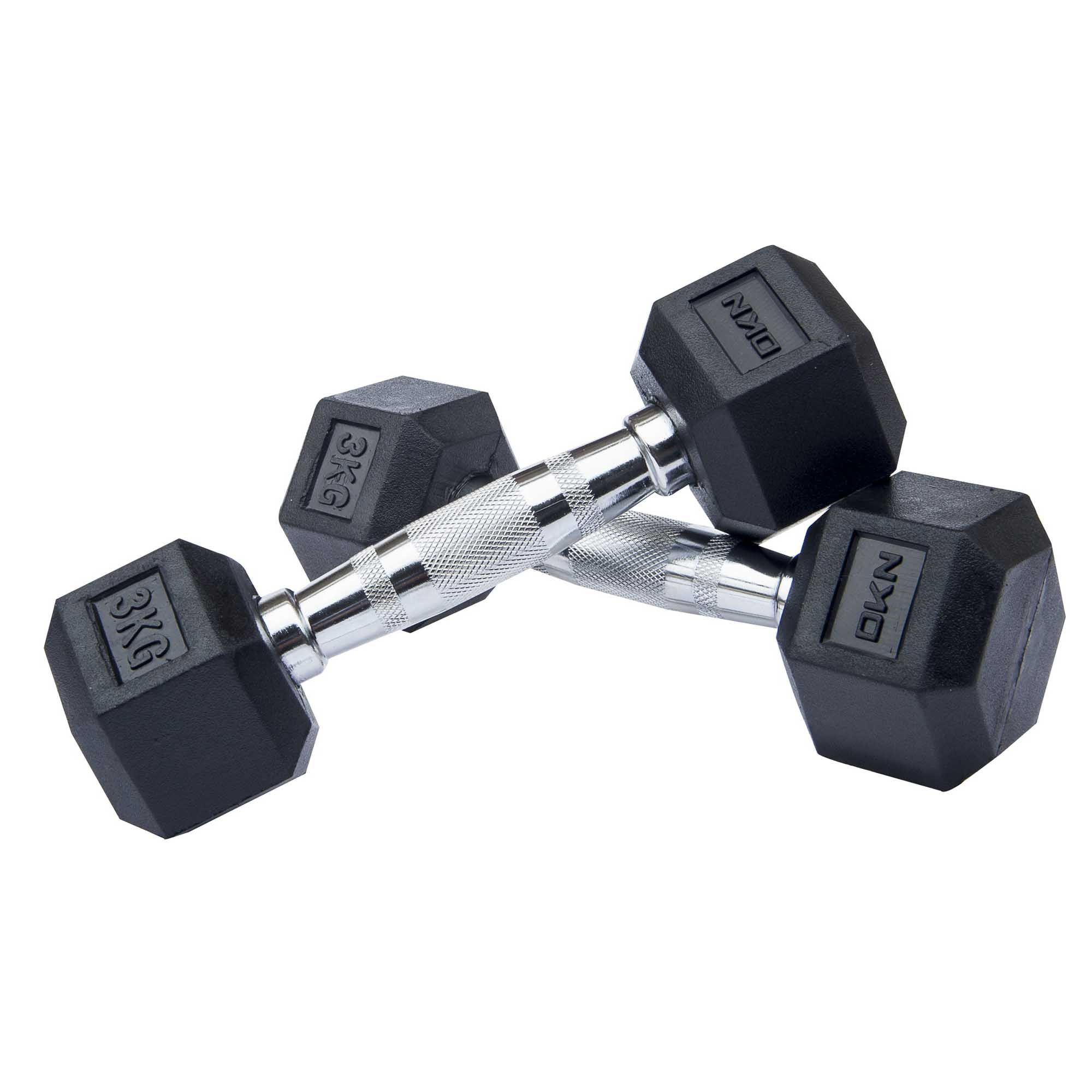 Dkn 2kg To 10kg Rubber Hex Dumbbell Set With Storage Rack