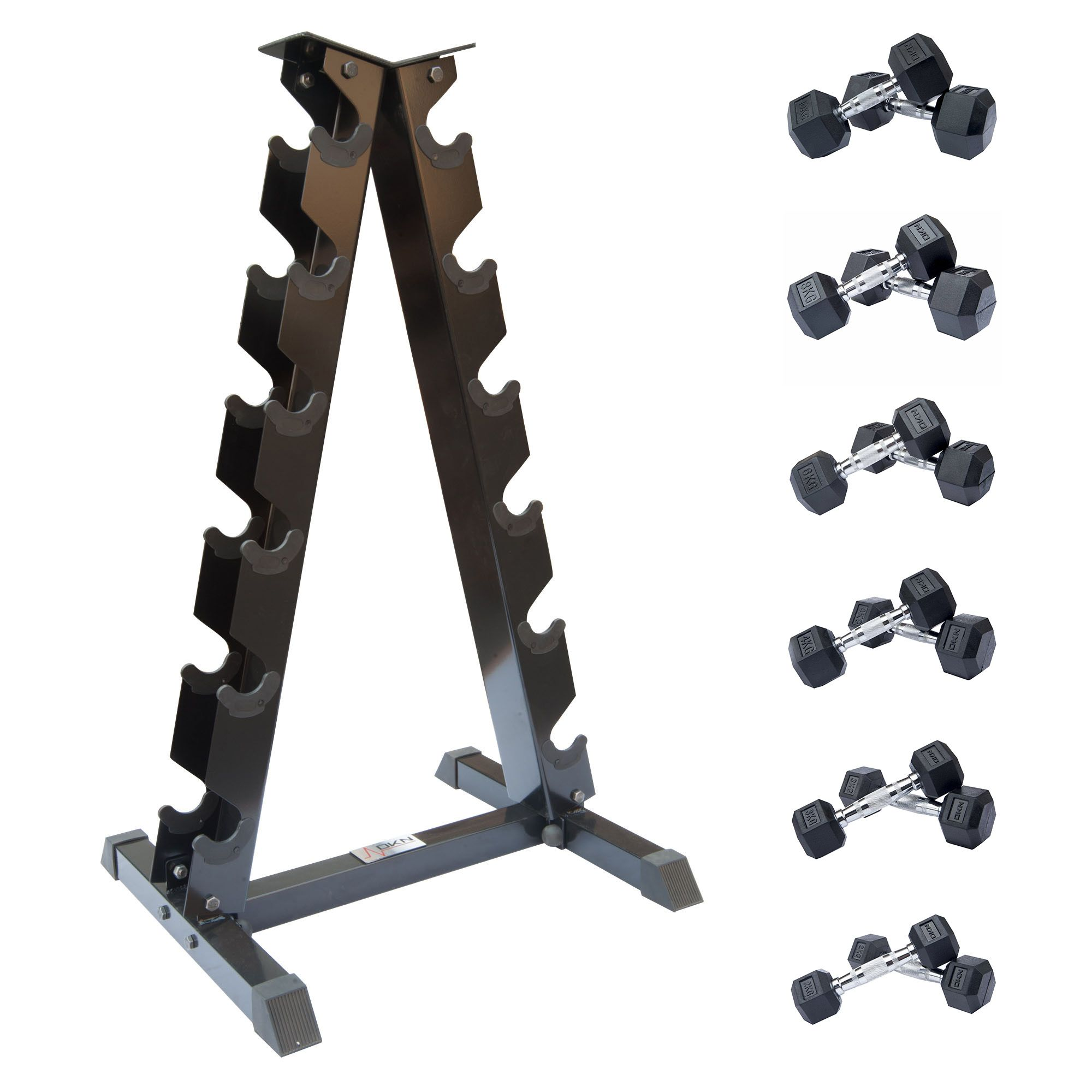 Cheapest Dumbbell Set: DKN 2kg To 10kg Rubber Hex Dumbbell Set With Storage Rack
