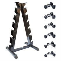 DKN 2kg to 10kg Rubber Hex Dumbbell Set with Storage Rack - 6 Pairs