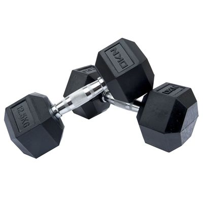 DKN Rubber Hex Dumbbell - 2 x 12.5kg