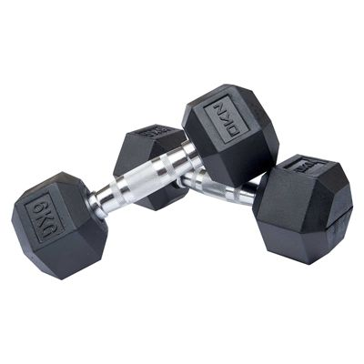 DKN Rubber Hex Dumbbell - 2 x 6kg