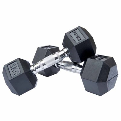 DKN Rubber Hex Dumbbell - 2 x 8kg