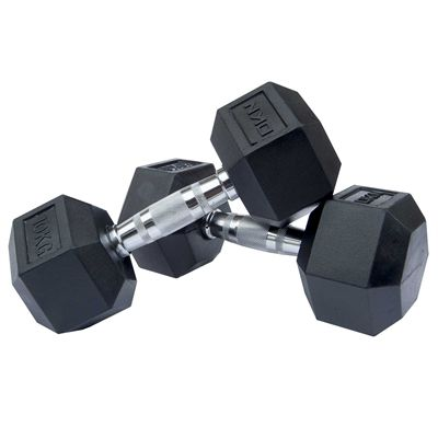 DKN Rubber Hex Dumbbell 2 x 10kg