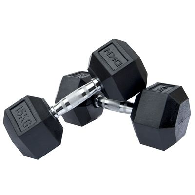 DKN Rubber Hex Dumbbell 2 x 15kg