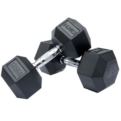 DKN Rubber Hex Dumbbell 2 x 17kg