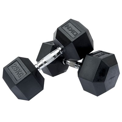 DKN Rubber Hex Dumbbell 2 x 25kg