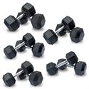 DKN Rubber Hex Dumbbells