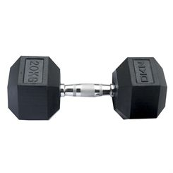 DKN Rubber Hex Dumbbells - 20kg