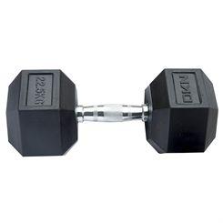 DKN Rubber Hex Dumbbells - 1 x 22.5kg