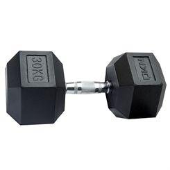 DKN Rubber Hex Dumbbells - 1 x 30kg