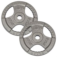 DKN Tri Grip Cast Iron Olympic Weight Plates - 2 x 20kg
