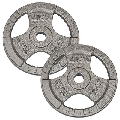 DKN Tri Grip Cast Iron Olympic Weight Plates 2 x 20kg