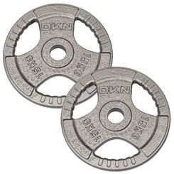 DKN Tri Grip Cast Iron Olympic Weight Plates - 2 x 15kg