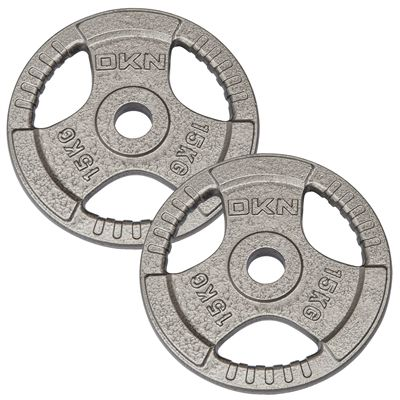 DKN Tri Grip Cast Iron Olympic Weight Plates 2 x 15kg
