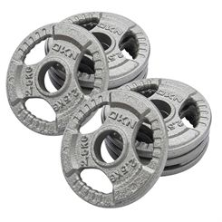 DKN Tri Grip Cast Iron Olympic Weight Plates - 8 x 2.5kg