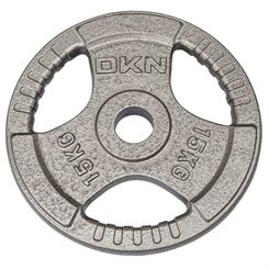 DKN Tri Grip Cast Iron Olympic Weight Plates - 1 x 15kg