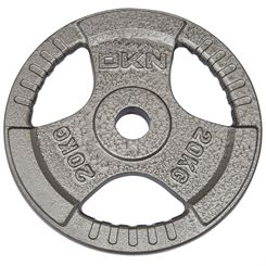 DKN Tri Grip Cast Iron Olympic Weight Plates - 1 x 20kg