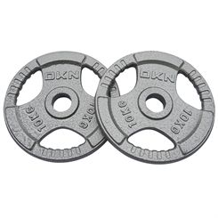 DKN Tri Grip Cast Iron Olympic Weight Plates - 2 x 10kg