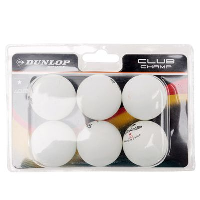 Dunlop Club Championship 1 Star Table Tennis Balls - Pack of 6