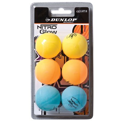 Dunlop Nitro Glo Table Tennis Balls - Pack of 6