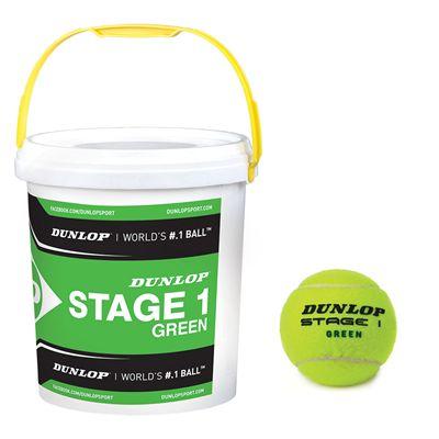 Dunlop Stage 1 Green Mini Tennis Balls 60 Ball Bucket