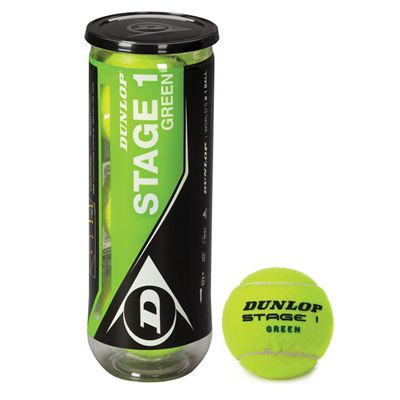 Dunlop Stage 1 Green Mini Tennis Balls - Tube of 3