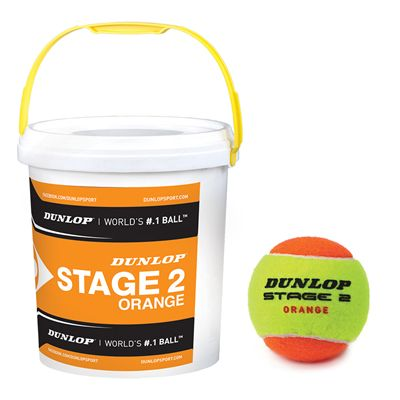 Dunlop Stage 2 Orange Mini Tennis Balls 60 Ball Bucket