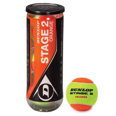 Dunlop Stage 2 Orange Mini Tennis Balls - Tube of 3
