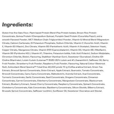 Efectiv Nutrition 1kg Complete Meal Formula - Ingredients