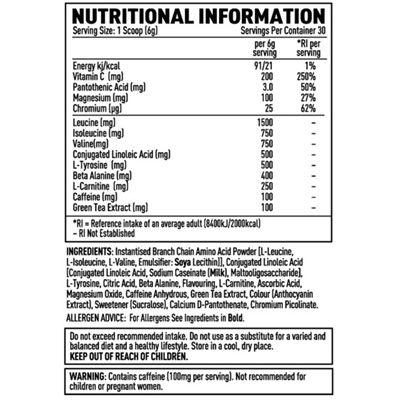 Efectiv Sports Nutrition Amino Lean 180g Shake - Table