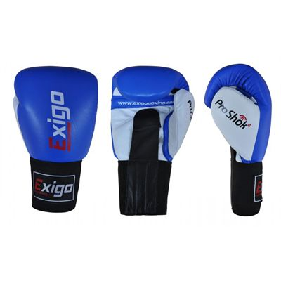 Exigo Boxing Amateur Leather Contest Gloves Blue - Main Image
