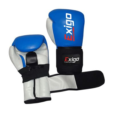 Exigo Boxing Amateur Leather Contest Gloves Blue Outspread Underside and Top View Image