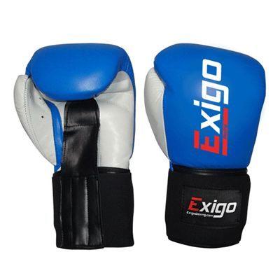 Exigo Boxing Amateur Leather Contest Gloves Blue Underside and Top View Image
