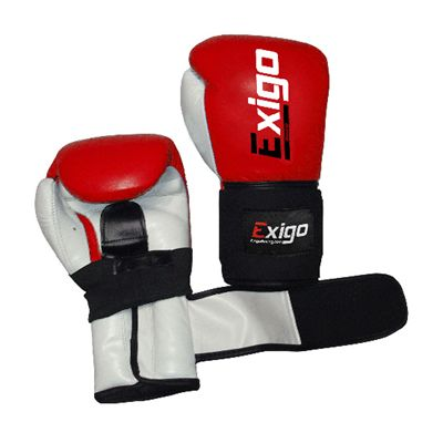 Exigo Boxing Amateur Leather Contest Gloves Red Outspread Underside and Top View Image