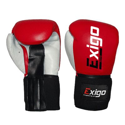 Exigo Boxing Amateur Leather Contest Gloves Red Underside and Top View Image