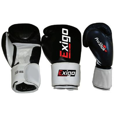 Exigo Boxing Club Pro Leather Sparring Gloves Black