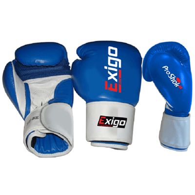 Exigo Boxing Club Pro Leather Sparring Gloves Blue