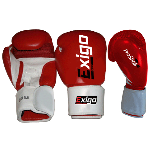 Exigo Boxing Club Pro Leather Sparring Gloves  Red 12oz