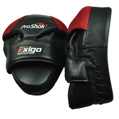 Exigo Boxing Pro Curved Hook and Jab Pads Front and Side View Image