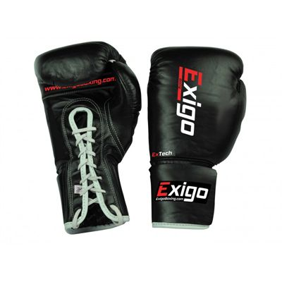 Exigo Boxing Pro Fight Leather Contest Gloves Black